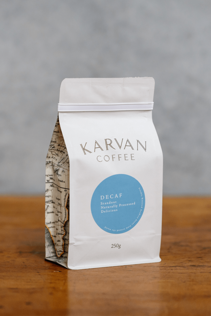 Naturally processed decaf coffee beans