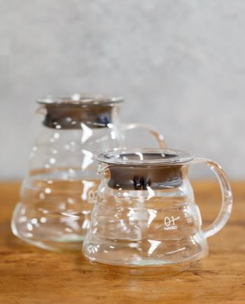 Hario V60 Glass Servers available from Leaf Bean Machine