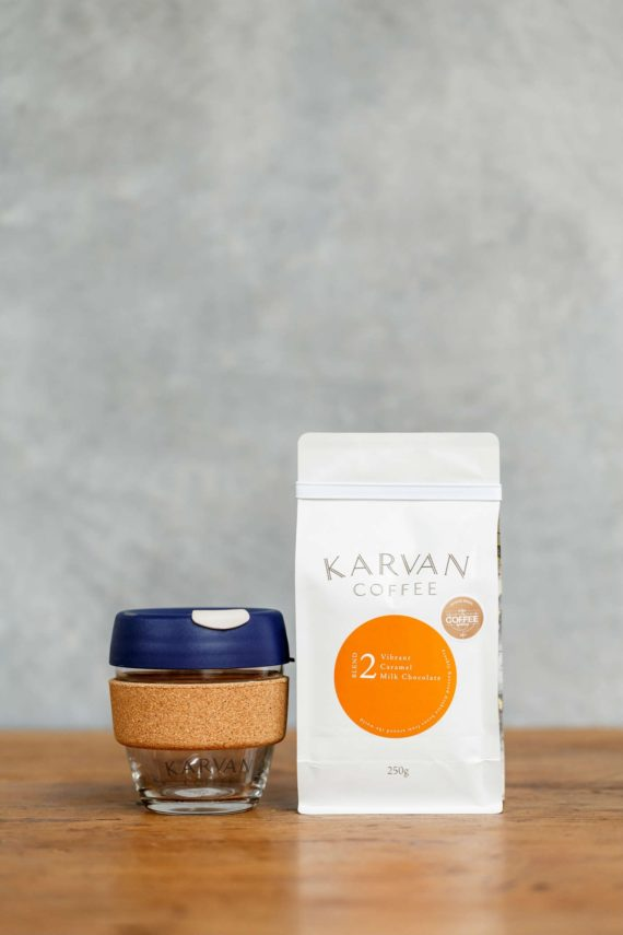 Our Karvan Blend #2 coffee beans with keepcup