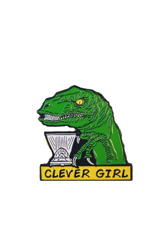 Department of Brewology Clever Girl Pin featuring a Velociraptor brewing a Clever Coffee Dripper