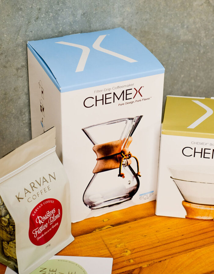 chemex 6 cup, filter papers and coffee