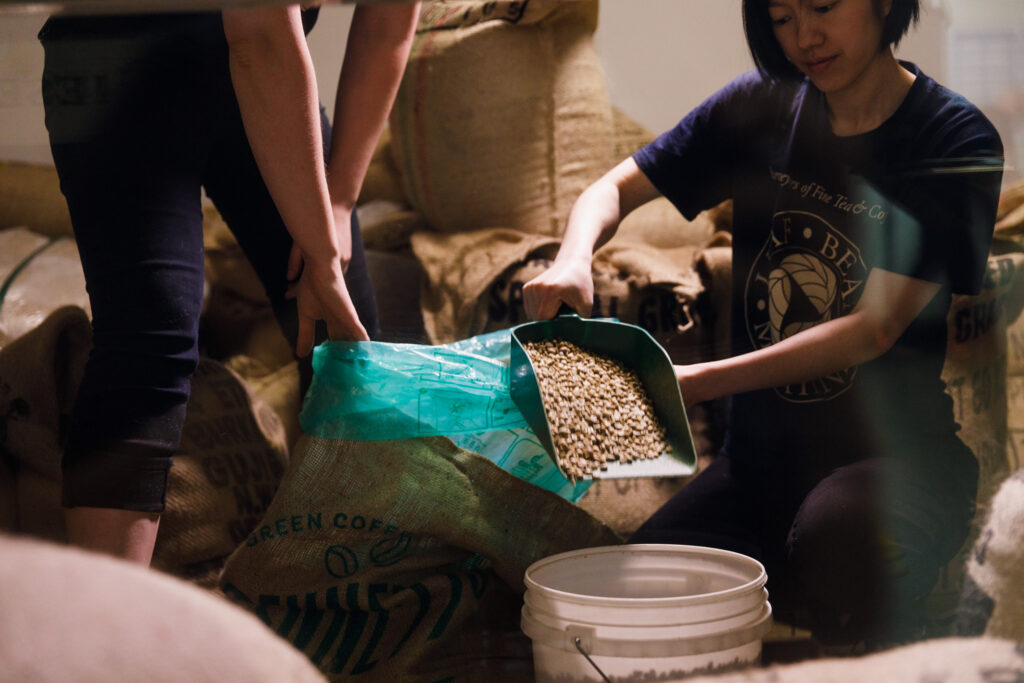 green coffee beans in our roastery